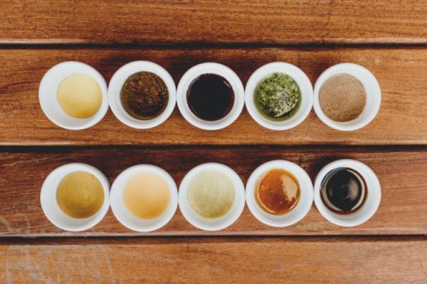 Sauces on wood table